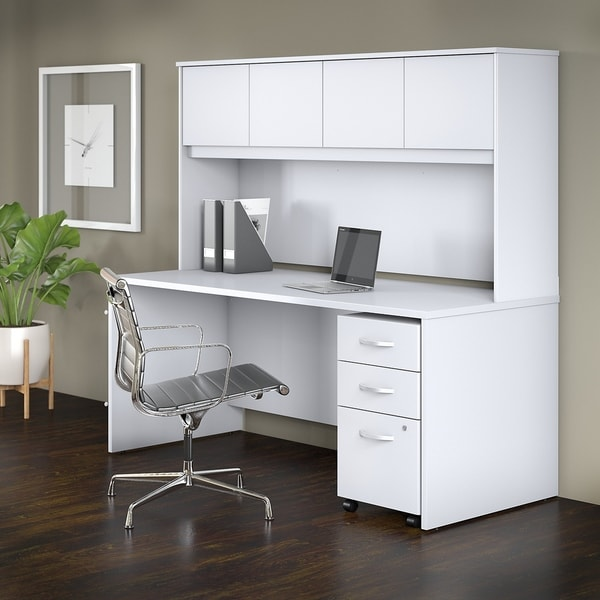 Studio C 72W X 30D Office Desk With Hutch And Mobile File Cabinet