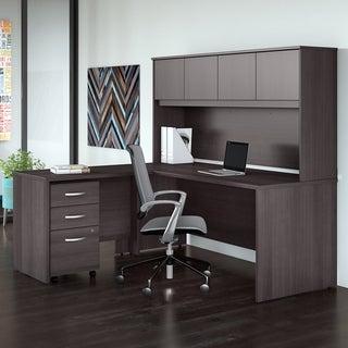 Studio C 72W L Shaped Desk, Hutch, Mobile File & Return, Storm Gray