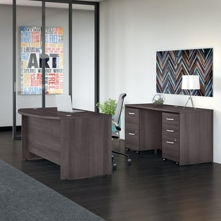 Studio C 60W Bow Front Desk & Credenza, Mobile Files, Storm Gray