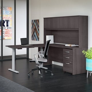 Studio C 72W L Desk, Hutch, Height Adjustable Return & Storage, Gray