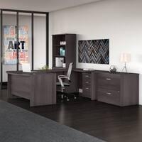 Bush Studio C 60W x 36D U Shaped Desk with Bookcase and File Cabinets