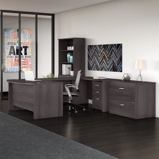 Studio C 60W U Shaped Desk with Bookcase and File Cabinets, Storm Gray