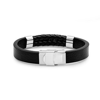 Steeltime Men's Leather Bracelet with Stainless Steel Accents in 2 Colors
