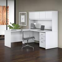 Bush Studio C 72W x 30D L Shaped Desk 4 Piece Office Suite in White