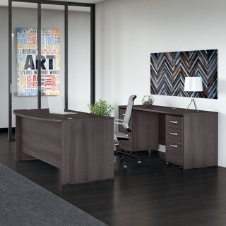 Studio C 72W Bow Front Desk & Credenza, Mobile Files, Storm Gray