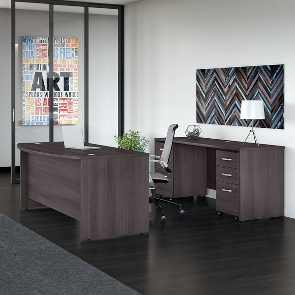 Studio C 72W Bow Front Desk and Credenza with Mobile File Cabinets