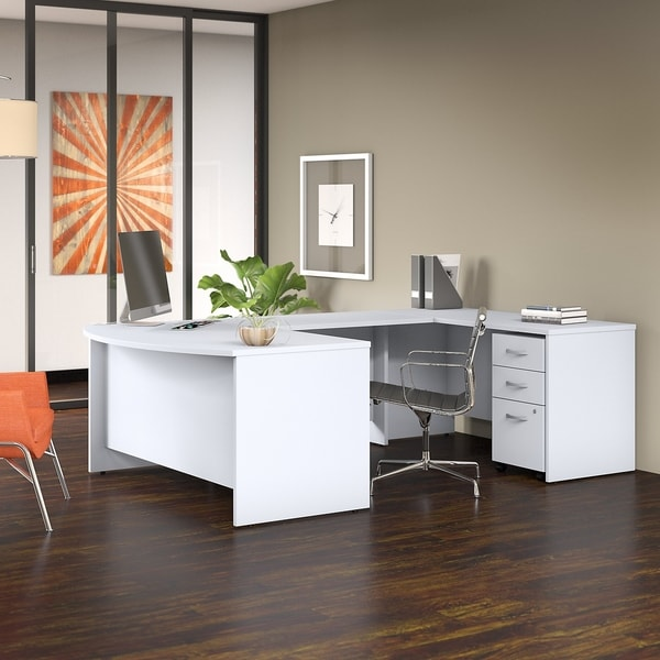 Studio C 60W x 36D U Shaped Desk with Mobile File Cabinet in White