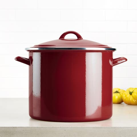 Ayesha Curry Home Collection Enamel on Steel Stockpot, 12-Quart