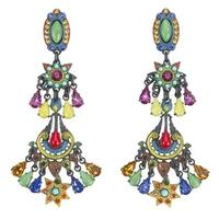 Amaro, 'Tera' Collection .925 Silver Plated Earrings - Green