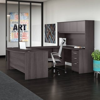 Studio C 72W x 36D U Shaped Desk with Hutch and Mobile File Cabinet