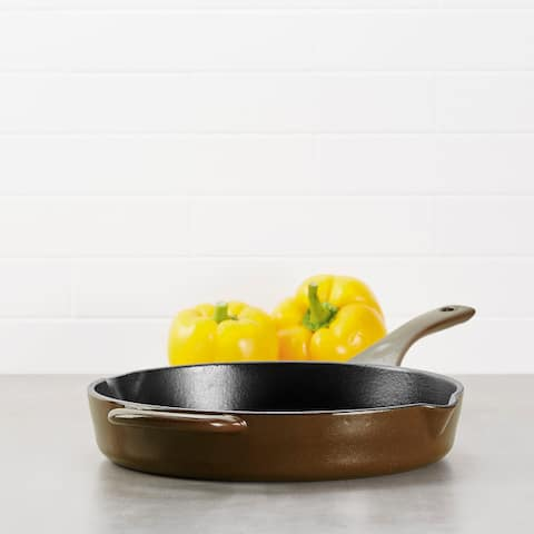 Ayesha Curry Cast Iron Enamel Skillet with Pour Spouts, 10-Inch
