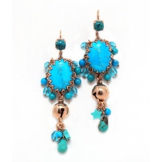 24K Rose Gold Plated, Turquoise Earrings Ocean Collection by Amaro - Blue