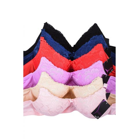 Sofra & Mamia 6-Pack Wire Free Full Coverage Lace Bras (Assorted Colors)