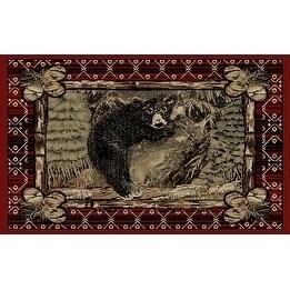 Rustic Lodge Pine Black Bear Cub Log Area Rug 2 3 X Free Shipping On Orders Over 45 20005984