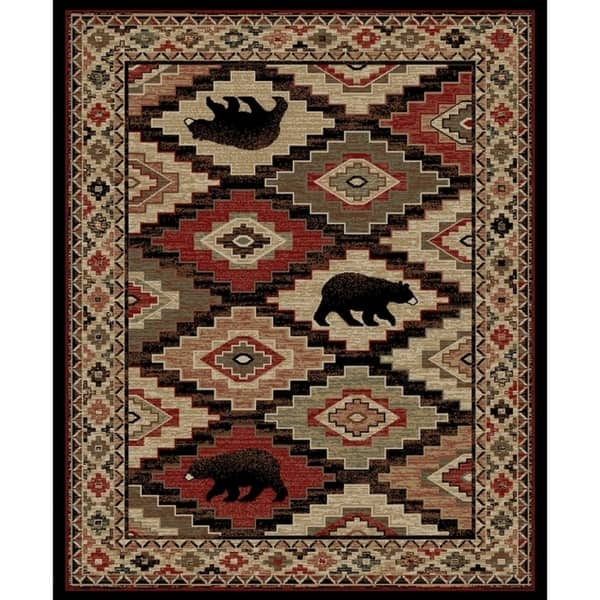 Rustic Lodge Bear Multi 8 X10 Area Rug