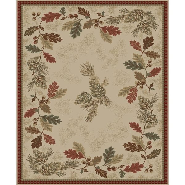 Rustic Lodge Oak Leaves Border Ivory