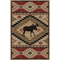 Rustic Lodge Southwestern Elk Multicolor Area Rug - 7'10 x 9'10