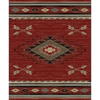 """Southwestern Lodge Rustic Red Area Rug - 7'10"""" x 9'10"""""""