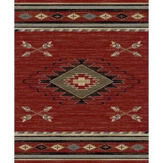 Southwestern Lodge Rustic Red Area Rug (7'10 x 9'10)