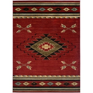 "Southwestern Lodge Rustic 5'x7' Red Area Rug 5'3""x7'3"" - 5'3"" x 7'3"""