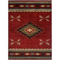 Southwestern Lodge Rustic Red Area Rug - 2'3 x 7'7