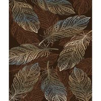 "Rustic Feather Brown Area Rug - 7'10"" x 9'10"""