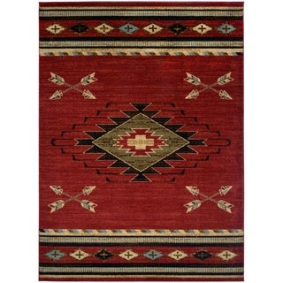"Southwestern Lodge Rustic 2'x3' Red Area Rug 2'3""x3'3"" - 2'3"" x 3'3"""