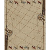 Fly Fishing Rod Rustic Lodge Area Rug - 5'3 x 7'3