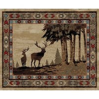 Rustic Lodge Deer Scene Multi Area Rug - 3'11 x 5'3