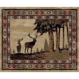 "Rustic Lodge Deer Scene Multi 4'x5' Area Rug 3'11""x5'3"" - 3'11"" x 5'3"""