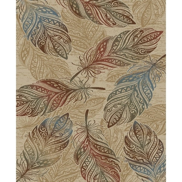 Shop Rustic Feather Natural Beige 5x7 Area Rug 53x73 53 X
