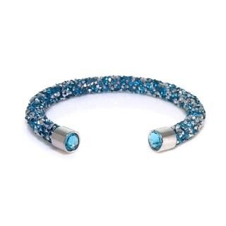 Eternally Haute Single Cuff Crystal Aqua Bracelet