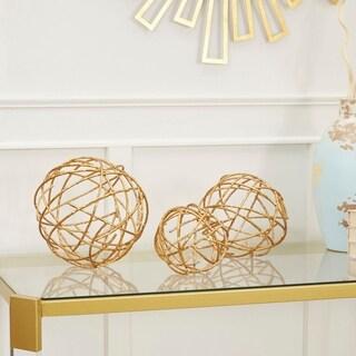 Metal Golden Twig Decorative Spheres, 3-Piece Set