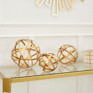 Metal Golden Band Decorative Spheres, 3-Piece Set