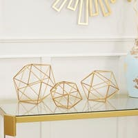 Golden Metal Wire Decorative Objects, 3-Piece Set