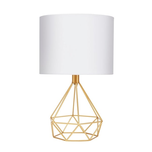 """Celeste 16"""" Wire Prism Table Lamp, Gold"""