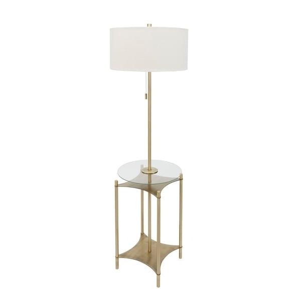 Alyssa Metal Side Table Floor Lamp, Gold