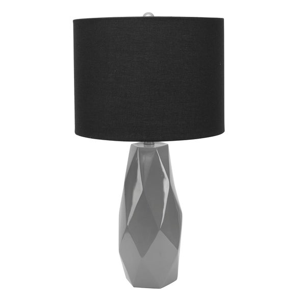 Naomi Faceted Table Lamp with Shade, Grey