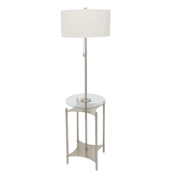 Alyssa Metal Side Table Floor Lamp, Nickel