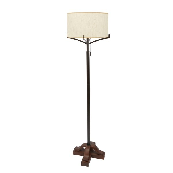 Ava Cross-Base Floor Lamp with Textured Shade