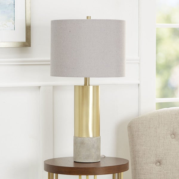Nicole Golden Cylinder Table Lamp with Cement Base