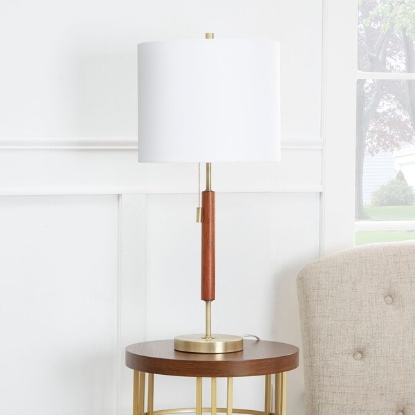 Bailey Wood Accented Gold Stick Lamp with Shade