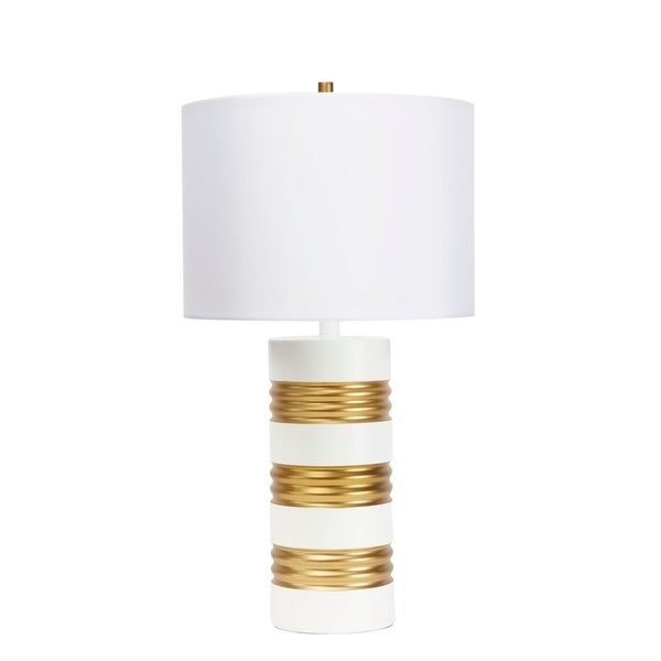 Chloe Stacked White and Gold Table Lamp
