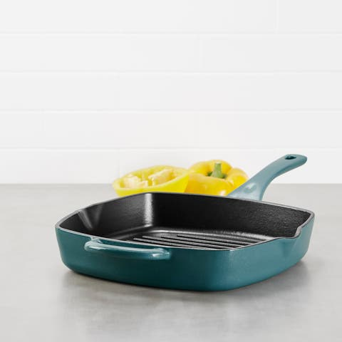 Ayesha Curry Cast Iron Square Grill Pan with Pour Spouts, 10-Inch, Twilight Teal