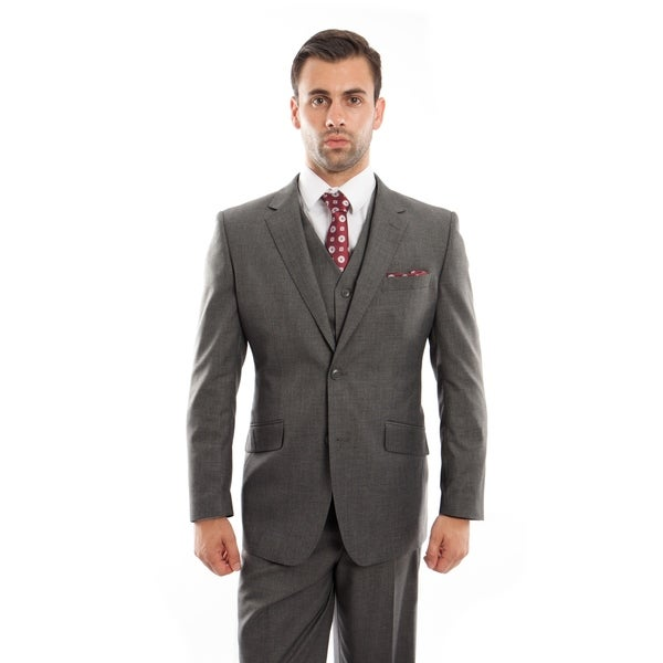 Men's Jacket Suit Modern Fit Solid Notch Lapel 2 Button Suit
