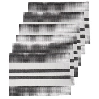 Kyleigh Stripe Placemat Set 6 (Option: Black)