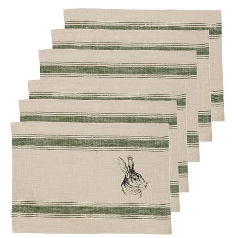 Bunny Feed Sack Placemat Set 6
