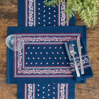 Austin Bandana Navy or Red Cotton Placemat Set of 6 - N/A