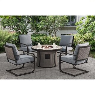 Karlmark 5 Piece Outdoor Fire Pit Table Dining Set