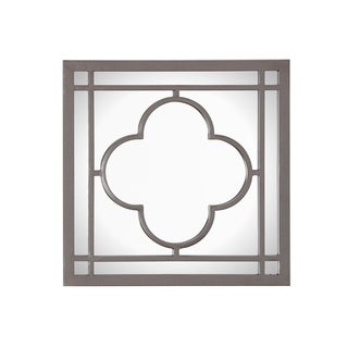Eloise Square Wall Mirror with Decorative Metal Frame - Gun Metal
